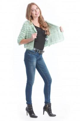 Pelz Jäckchen R+L Fell Cape Bolero grün Luxus Pelzmode Jacke