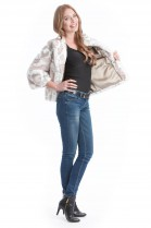 Velvet Rex Kanin jacket printed jacket luxury fur coat Style