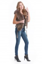 Designer Fur Vest brown original fox skin style luxury fur