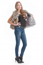 Fox fur vest brown beige gray Luxury Fur Fashion Designer