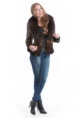 Rabbit Designer fur jacket with fox collar brown Fox Style