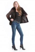 Kanin Designer Pelz Jacke mit Fuchs Kragen braun Fox Style