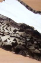 Fur mink printed plucked beige brown
