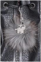 Fuchs Bommel Anhänger grau Elefant Style Fell Fashion