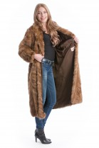 Zobel Mantel braun echt Pelz Sable coat brown Fell Style