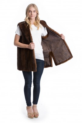 Fellweste Nerz braun Luxus Mink vest Pelz Style Mode Fashion