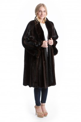Nerz Swinger mit Leder Luxus Pelz Mantel Mink Fashion Style
