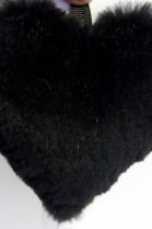 Pelz Fell Kanin  Anhänger Herz schwarz geschoren