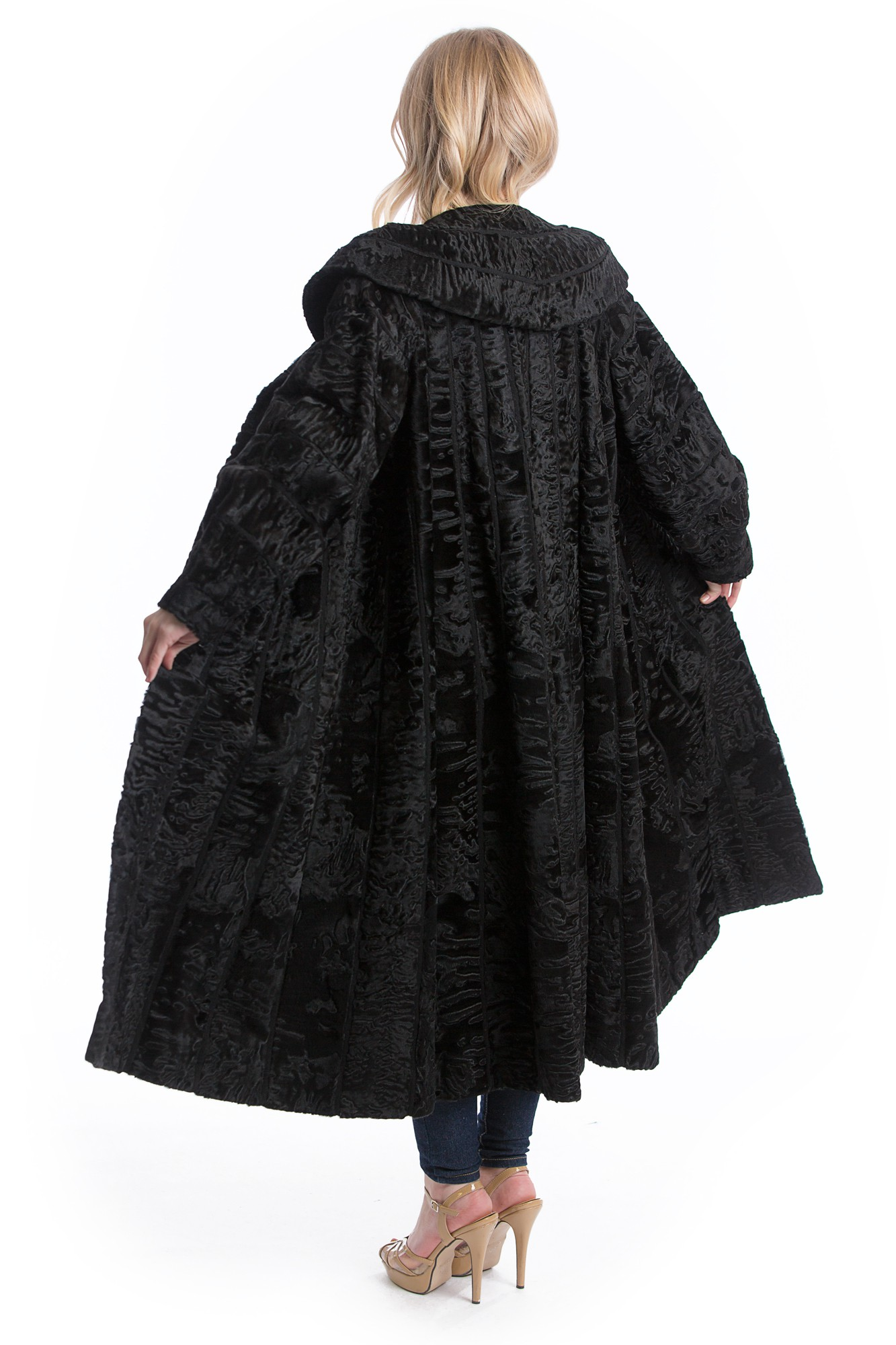 Buy Swakara Astrakhan Coat Black Leather Style Fur Fashion