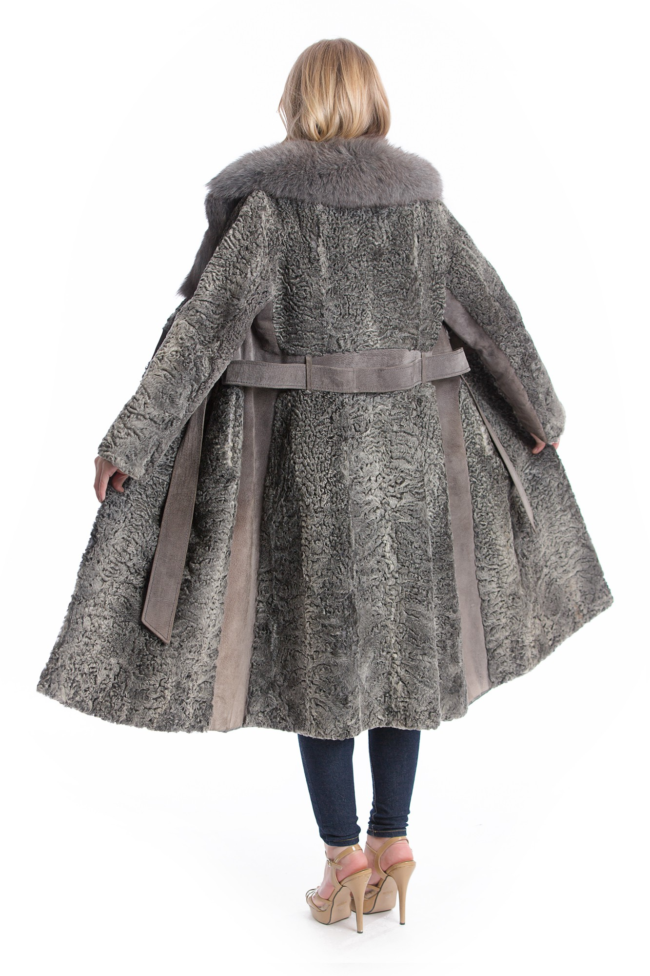 buy persian lamb leather coat gray fashion fox fur collar xxl online at your furs online shop