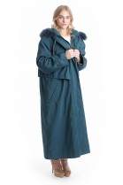 Cloth coat with blue fox fur hood and lining Kanin