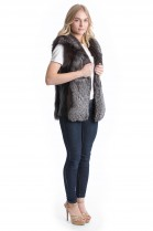 Silver fox vest with leather genuine Fox style vest Pelzmode