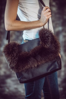 Flauschige Felltasche braun Fuchs Fashion Style Pelz Mode