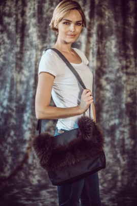 Fluffy fur bag brown fox Fashion Style Pelzmode