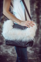 Flauschige Felltasche weiß Fuchs Fashion Style Pelz Mode