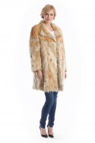 Fashion natural red fox fur jacket brown luxury fur fashion