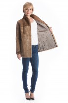 Leather strip Mink Jacket pastel luxury fur Style Pelzmode