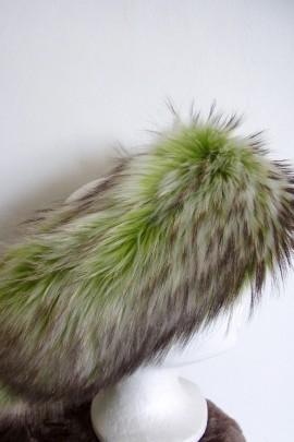 Pelz Fell Stirnband Finnraccooon Apfelgrün dunkele Granen