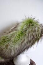 Fur Headband Finnraccooon apple green dark Granen
