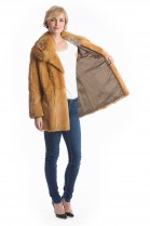 Gold weasel jacket with fur collar fox fur luxury coat style