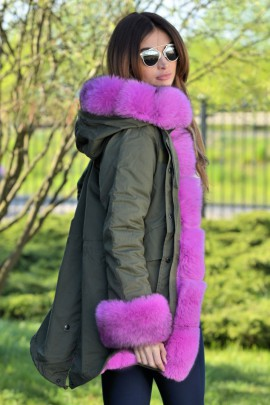 Green parka with an exceptional fox fur in Pink