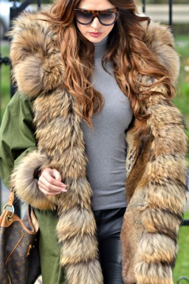 Military parka with a fur exceptional Finnraccoon