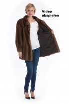 Mink jacket demi buff mink coat style brown luxury fur