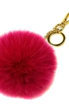 Premium Fuchs Fellbommel Schlüsselanhänger Pink Fox