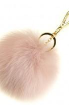 Premium fox fur Bommel Keychains Rosé Fox