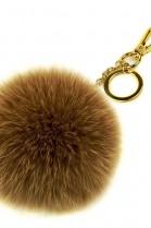Premium fox fur Bommel Keychains Cappuccino Fox