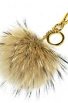 Premium fox fur Bommel Keychain Light Brown Fox