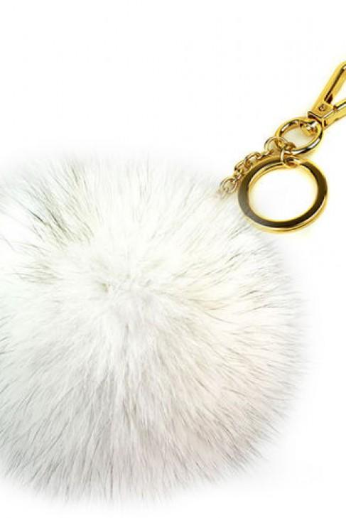 Premium Fuchs Fellbommel Schlüsselanhänger Natural White Fox