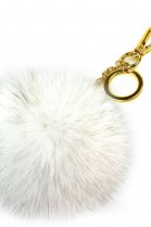Premium fox fur Bommel Keychains Natural White Fox