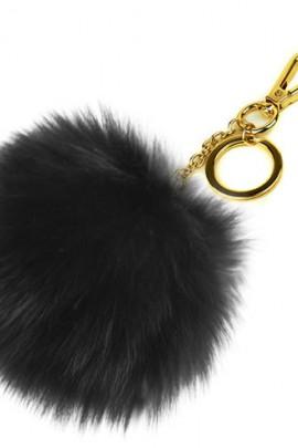Premium Fuchs Fellbommel Schlüsselanhänger Black Fox