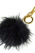 Premium fox fur Bommel Keychains Black Finnraccoon