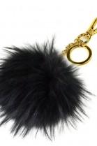 Premium fox fur Bommel Keychains Black Finnraccoon