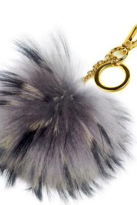 Premium fox fur Bommel Keychains Finnraccoon Grey