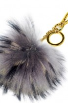Premium fox fur Bommel Keychains Finnraccoon Grey