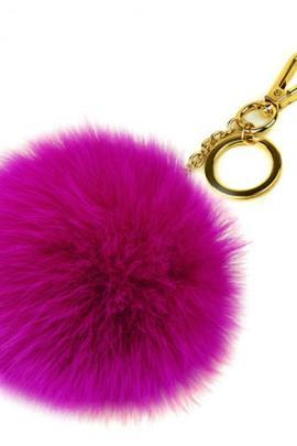 Premium Fuchs Fellbommel Schlüsselanhänger Ultra-Pink Fox