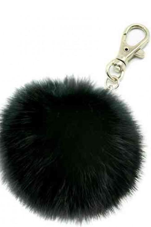 Premium Mini Fell Bommel Keychains Black Kanin