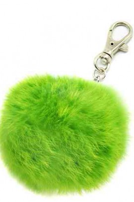 Premium Mini Fellbommel Schlüsselanhänger Green Kanin