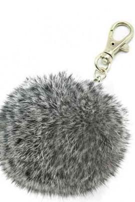 Premium Mini Fellbommel Schlüsselanhänger Grey Kanin