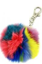 Premium Mini Fellbommel Schlüsselanhänger Multicolor Kanin
