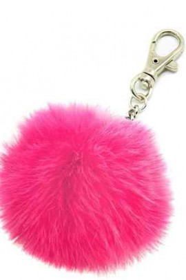 Premium Mini Fellbommel Schlüsselanhänger Pink Kanin