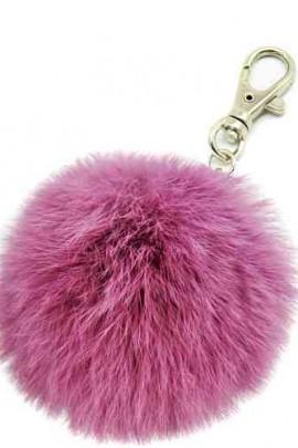 Premium Mini Fell Bommel Keychains Violet Kanin