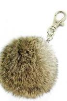 Premium Mini Fellbommel Schlüsselanhänger Braun Kanin