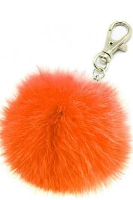 Premium Mini Fellbommel Schlüsselanhänger Orange Kanin