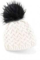 Cream-colored bobble hat with black fur bobble