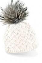 Cream-colored bobble hat with gray fur bobble