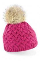 Mütze in pink mit hellbraunem Bommel